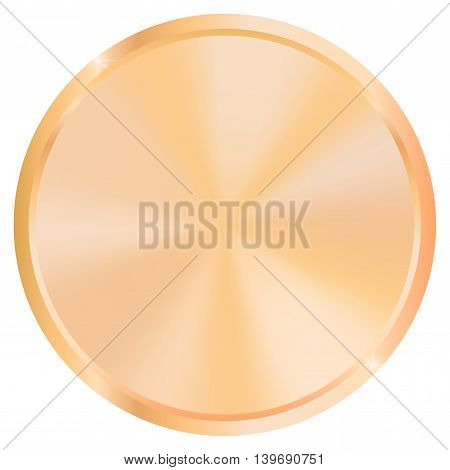 Bronze medal or coin. Empty metal plate. Vector illustration isolated on white background.