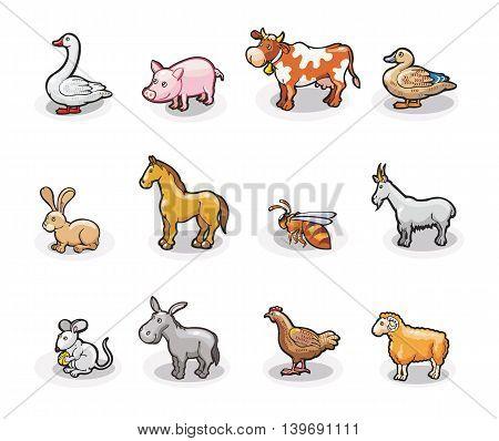 Vector icons of farm animals. Cartoon illustration.
