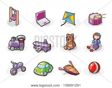 Vector colored icon set of toys. Cartoon illustration.
