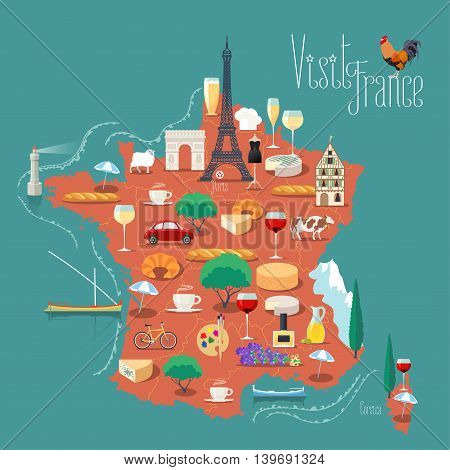 Map of France vector illustration, design. Icons with French Eiffel tower, wine, arch of triumph. Paris capital. Explore France concept image