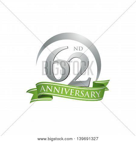 62nd anniversary green logo template. Creative design. Business success