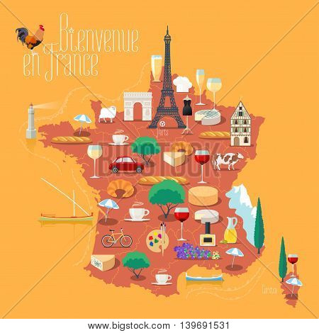 Map of France vector isolated illustration. Set of icons with French Eiffel tower, Paris symbol, croissant, baguette, Alps, other landmarks. Bienvenue en France - Welcome to France