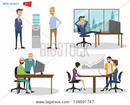 Vector Illustration cartoon. People in the office rest, socialize and make new work plan