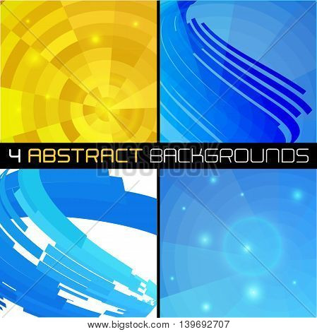 Set of polygonal abstract backgrounds for business presentations. Vector illustration.