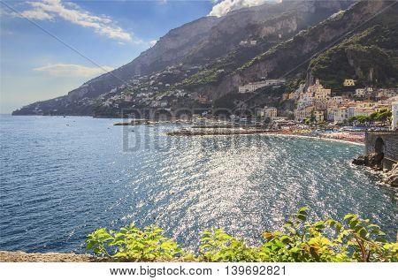 Amalfi coast (Costiera Amalfitana):panoramic view of Positano town.Italy (Campania).In the background the beach and the tourist port.