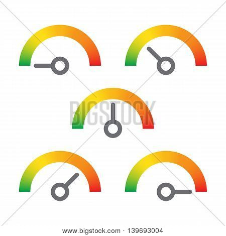 meter signs infographic gauge element from green to redvvector illustration