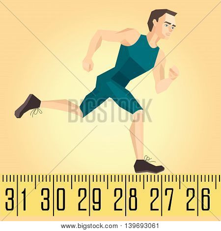 Vector illustration of a running athlete on the measuring tape