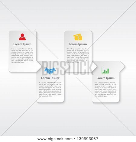 Four steps cycle or sequence infographic white paper concept vector illustration