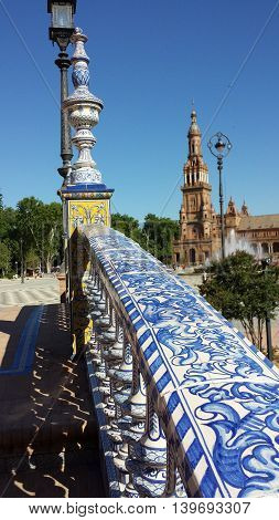 View through the bridge at Plaza de Espana in Seville, Spain