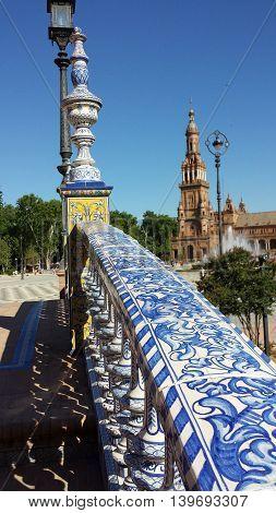 View through the bridge at Plaza de Espana in Seville, Spain