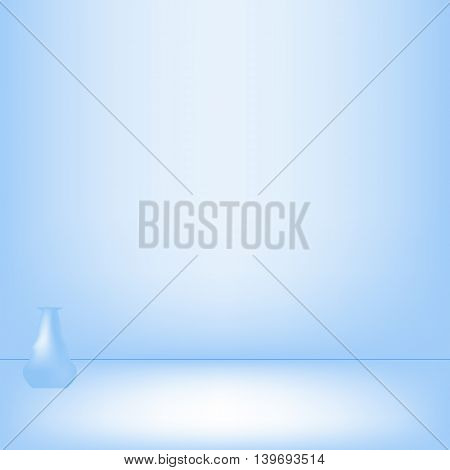 Lonely vase in blue studio background in Vector EPS 10