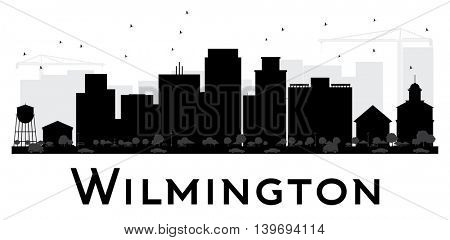 Wilmington City skyline black and white silhouette. Simple flat concept for tourism presentation, banner, placard or web site. Business travel concept. Cityscape with landmarks