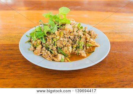 Larb duck mince with spicy taste Thai food