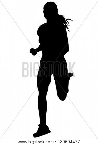 Woman athlete running race on white background