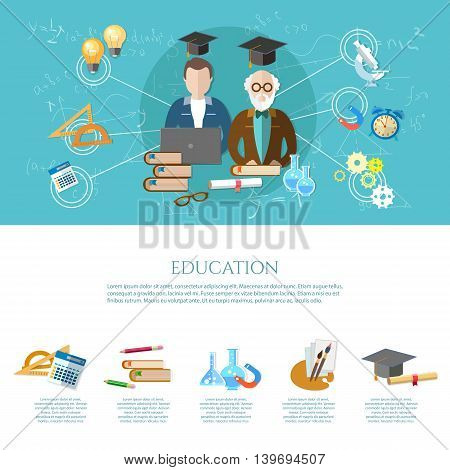 Education infographic professor and student learning open book of knowledge modern education concept vector illustration