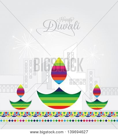 Elegant card design of traditional Indian festival Diwali with lamp.
