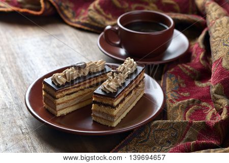 Coffee Cake On Wooden Table