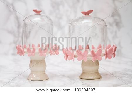 Empty Bell Jars With Pink Butterfly Design
