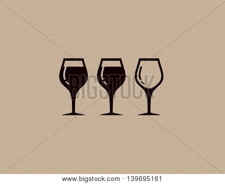background with isolated tree wine glass silhouette