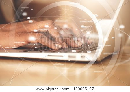 Worldwide Connection Interface. Double Exposure Of African American Businesswoman Typing A Message V