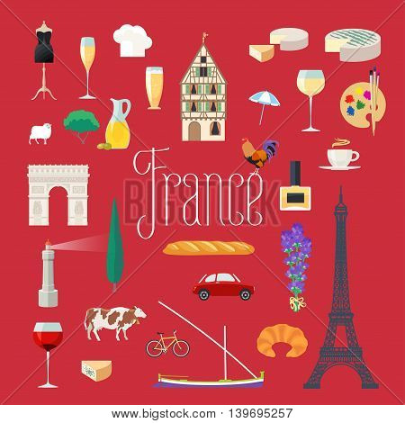 Travel to France vector icons set. French landmarks, Eiffel tower, arch Triumph, Paris architecture buildings, dress, croissant, lighthouse, boat