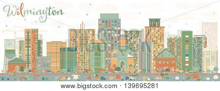 Abstract Wilmington Skyline with Color Buildings. Business Travel and Tourism Concept with Modern Buildings. Image for Presentation Banner Placard and Web Site.