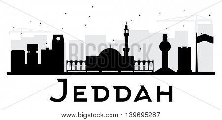 Jeddah City skyline black and white silhouette. Simple flat concept for tourism presentation, banner, placard or web site. Business travel concept. Cityscape with landmarks