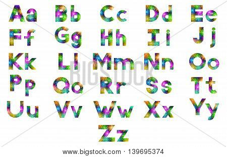 Alphabet, Set of English Letters Signs Uppercase and Lowercase, Stylized Colorful Holiday Firework with Stars and Flares