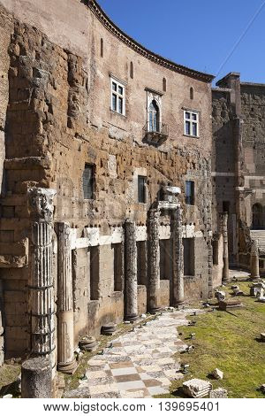 Trajan's Forum (Piazza Foro Traiano) in Rome, Italy.