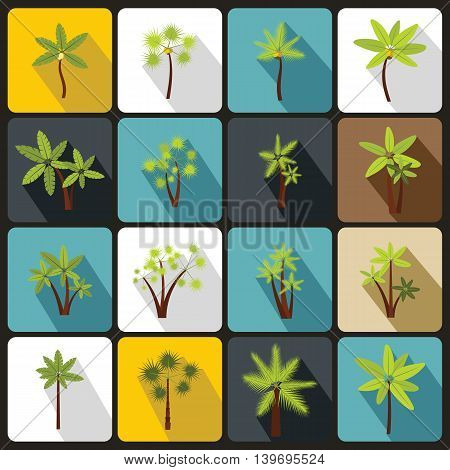Palm tree icons set in flat style. Tropical exotic plants set collection vector illustration