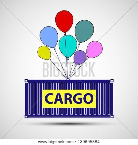 Icon freight container with balloons. Cargo delivery. Stock vector illustration.
