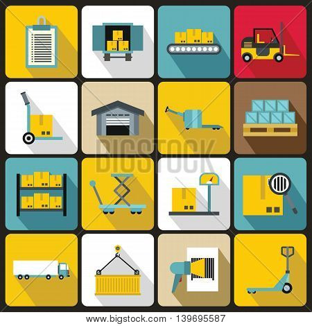 Logistic icons set in flat style. Warehouse and storage set collection vector illustration