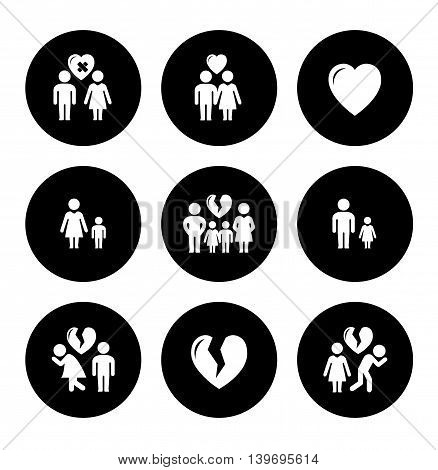 set of round concept family help icons
