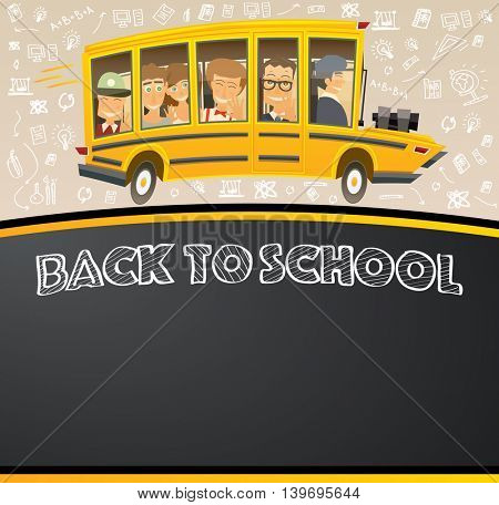 Back to School on Black Chalk Board. Racing School Bus in Cartoon Style with Pupils and Copy Space.