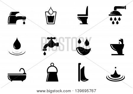 set of black water and bathroom isolated object