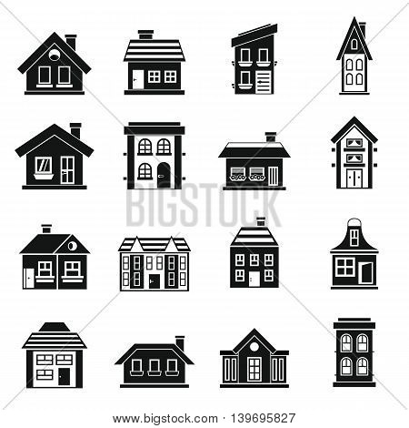 House icons set in simple style. Real estate set collection vector illustration