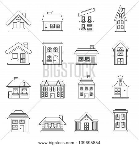 House icons set in outline style. Real estate set collection vector illustration