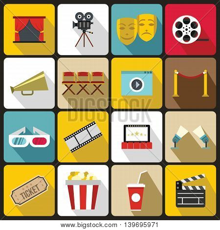 Cinema icons set in flat style. set collection vector illustration