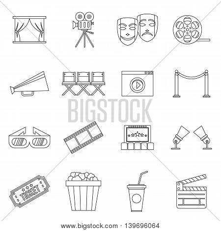 Cinema icons set in outline style. Movie equipment set collection vector illustration