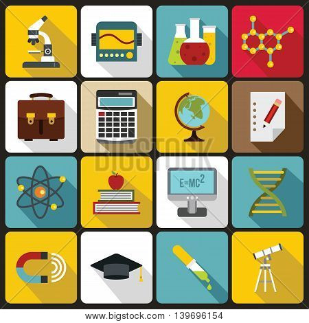 Education icons set in flat style. Science set collection vector illustration