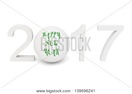 Happy new year 2017: numbers with a sphere 3d illustration
