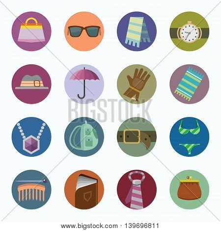 Vector colorful icons set of Accessories. Flat design.