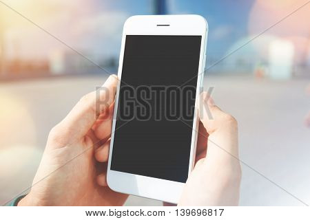 Technology And Communication Concept. Young Businessman Reading News On The Internet Magazine, Texti