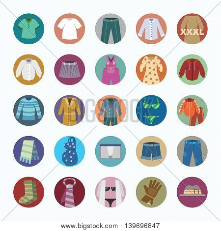 Vector colorful icons set of Clothes. Flat design.