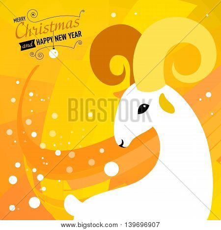 Merry Christmas and Happy new year card for 2015 year of Goat and Sheep