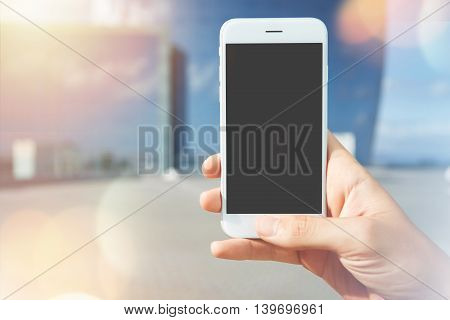 Businessman Using Cell Phone With Copy Space Blank Screen Tying To Catch Playing App