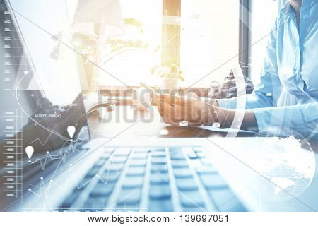 Worldwide Connection Interface. Businesswoman In Shirt Typing A Message Via E-mail Using Smart Phone
