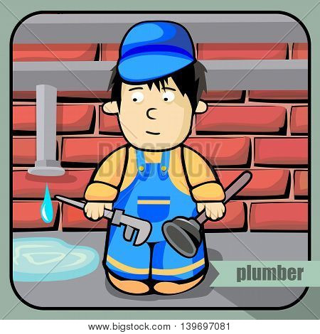 Vector person character portrait. Plumber portrait isolated on unpainted fence background. Cartoon style. Human profession icon.