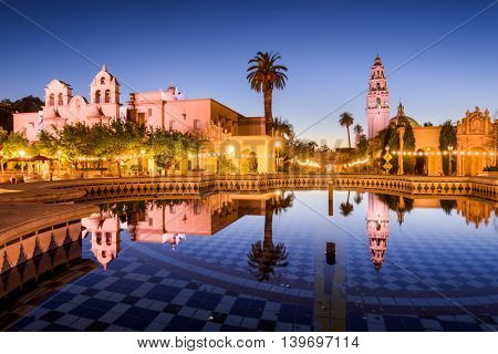 SAN DIEGO, CALIFORNIA - FEBRUARY 25, 2016: Plaza de Panama in Balboa Park at night.