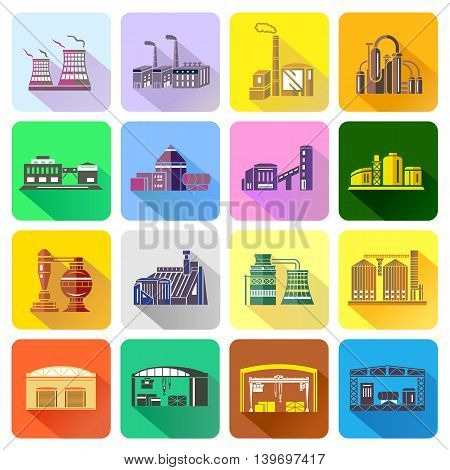 Factory icons set in flat style. Industrial building set collection vector illustration